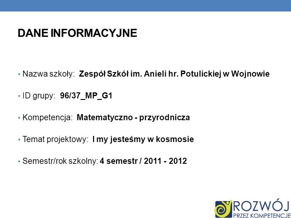 Dane INFORMACYJNE Nazwa szkoły: Zespół Szkół im. Anieli hr. Potulickiej w Wojnowie. ID grupy: 96/37_MP_G1.