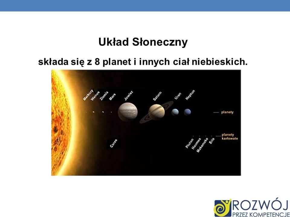 składa się z 8 planet i innych ciał niebieskich.