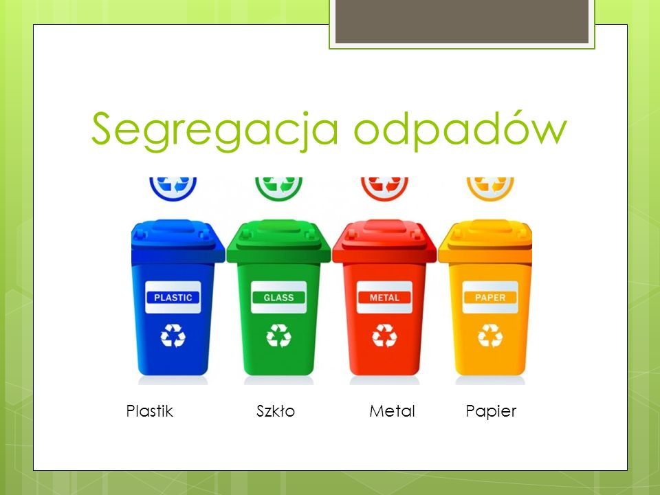 Segregacja odpadów Plastik Szkło Metal Papier