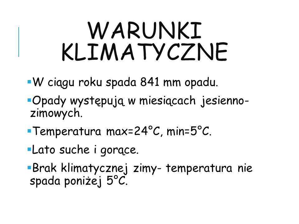 Warunki klimatyczne W ciągu roku spada 841 mm opadu.