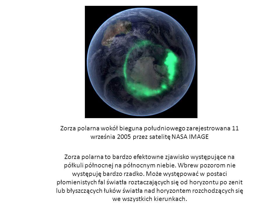 Zorza polarna wokół bieguna południowego zarejestrowana 11 września 2005 przez satelitę NASA IMAGE