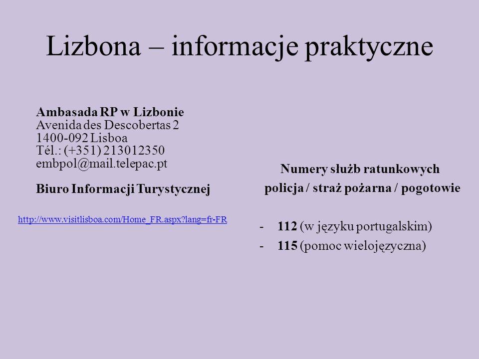 Lizbona – informacje praktyczne