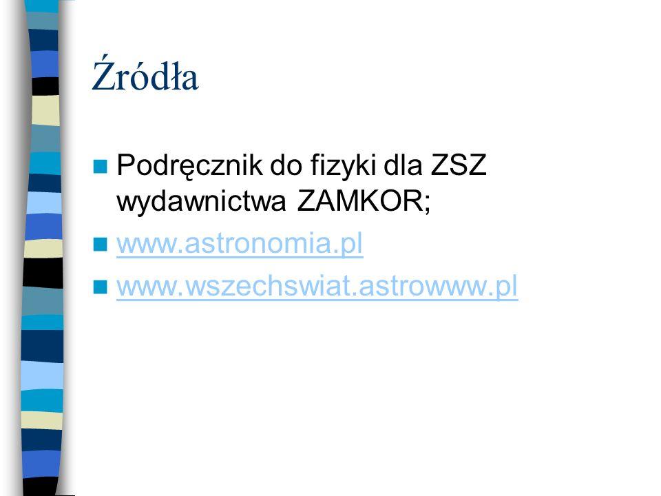 Źródła Podręcznik do fizyki dla ZSZ wydawnictwa ZAMKOR;