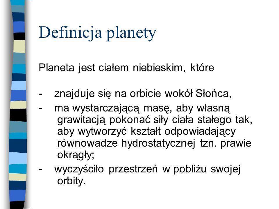 Definicja planety Planeta jest ciałem niebieskim, które