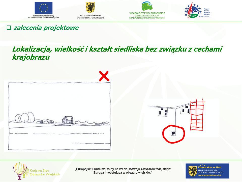 zalecenia projektowe Lokalizacja, wielkość i kształt siedliska bez związku z cechami krajobrazu