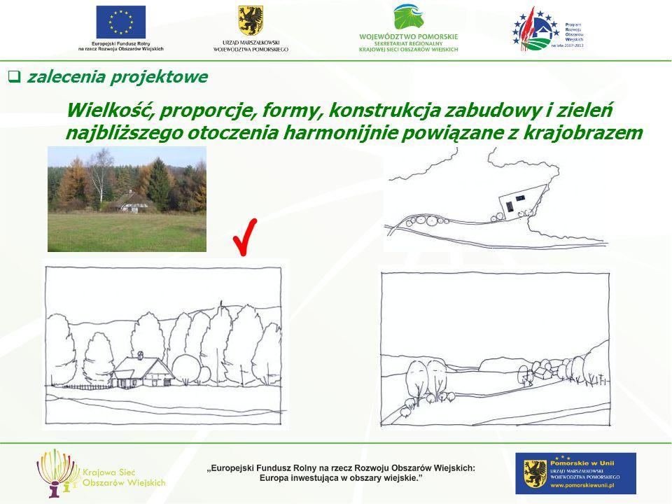 zalecenia projektowe Wielkość, proporcje, formy, konstrukcja zabudowy i zieleń najbliższego otoczenia harmonijnie powiązane z krajobrazem.