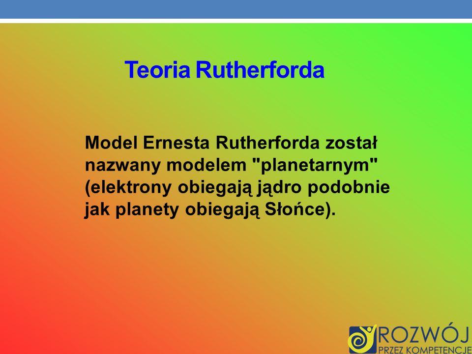 Teoria Rutherforda Model Ernesta Rutherforda został nazwany modelem planetarnym (elektrony obiegają jądro podobnie jak planety obiegają Słońce).