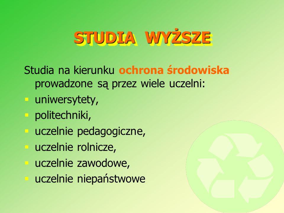STUDIA WYŻSZE Studia na kierunku ochrona środowiska prowadzone są przez wiele uczelni: uniwersytety,