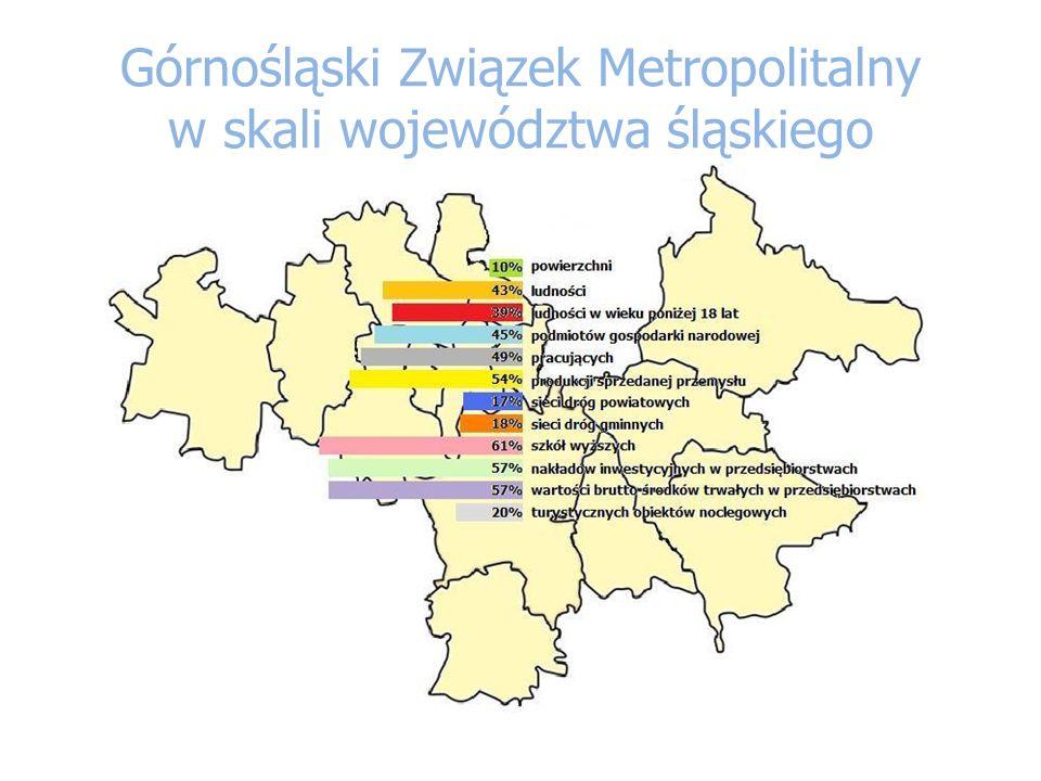 Górnośląski Związek Metropolitalny w skali województwa śląskiego