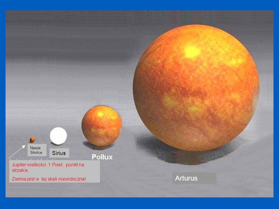 Arturus Sirius Jupiter wielkości 1 Pixel, punkt na strzałce.