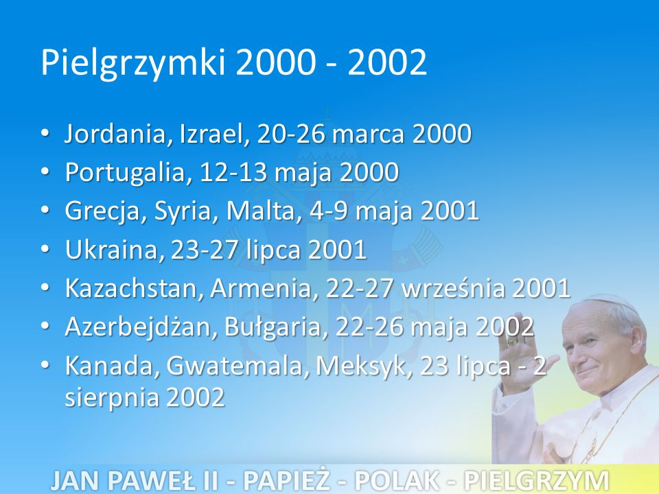 Pielgrzymki 2000 - 2002 Jordania, Izrael, 20-26 marca 2000