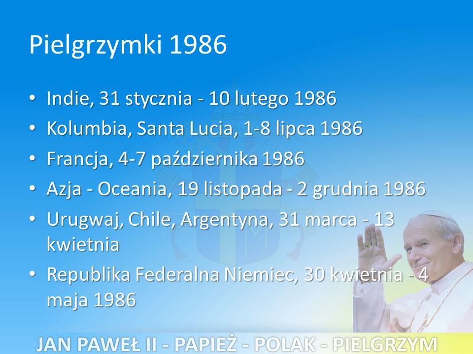 Pielgrzymki 1986 Indie, 31 stycznia - 10 lutego 1986