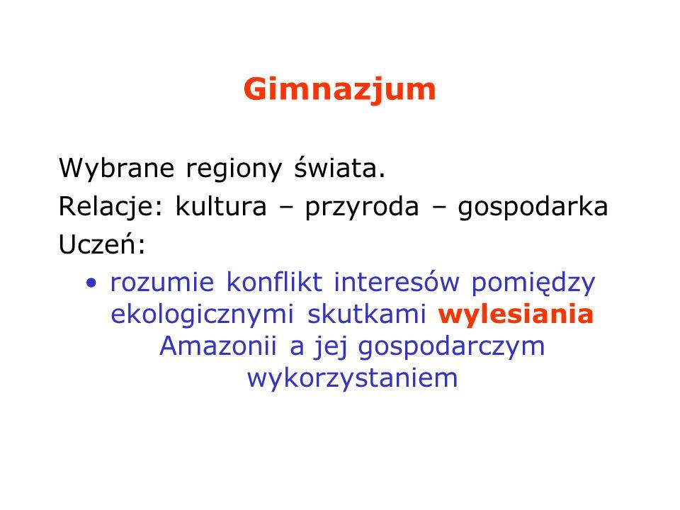 Gimnazjum Wybrane regiony świata.