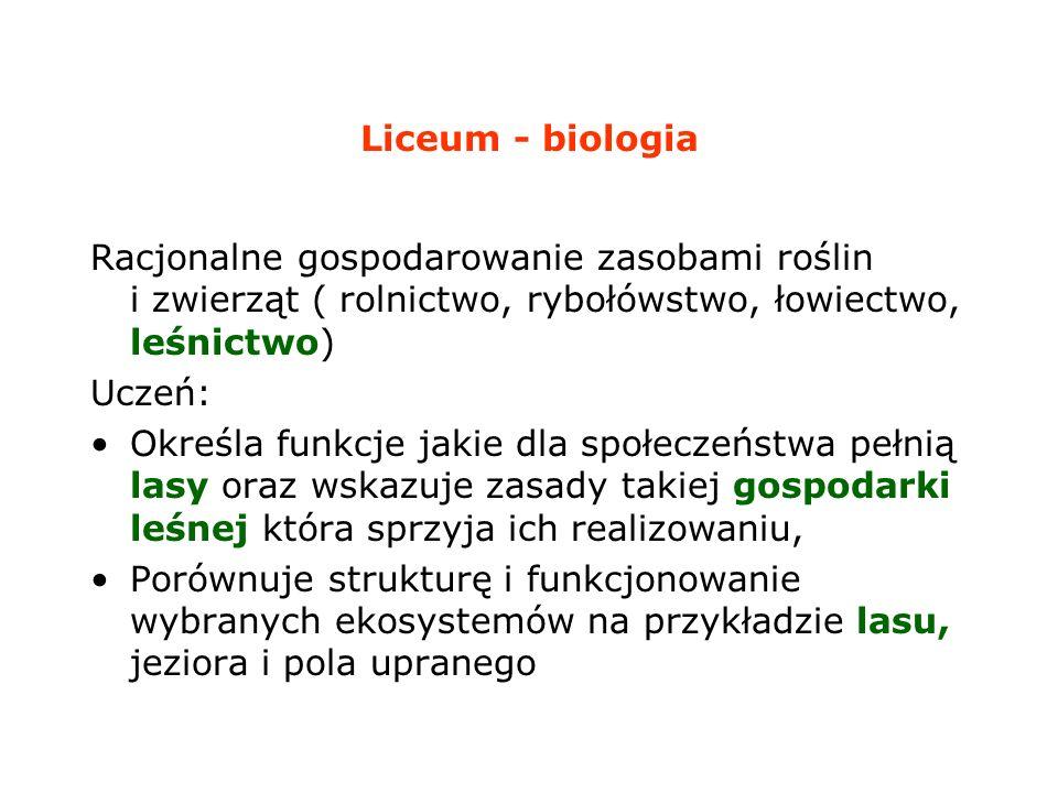 Liceum - biologia Racjonalne gospodarowanie zasobami roślin i zwierząt ( rolnictwo, rybołówstwo, łowiectwo, leśnictwo)