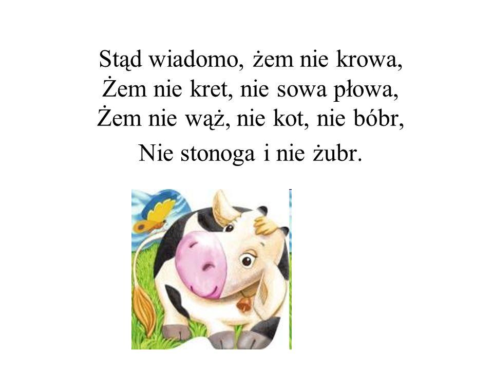 Stąd wiadomo, żem nie krowa, Żem nie kret, nie sowa płowa, Żem nie wąż, nie kot, nie bóbr, Nie stonoga i nie żubr.
