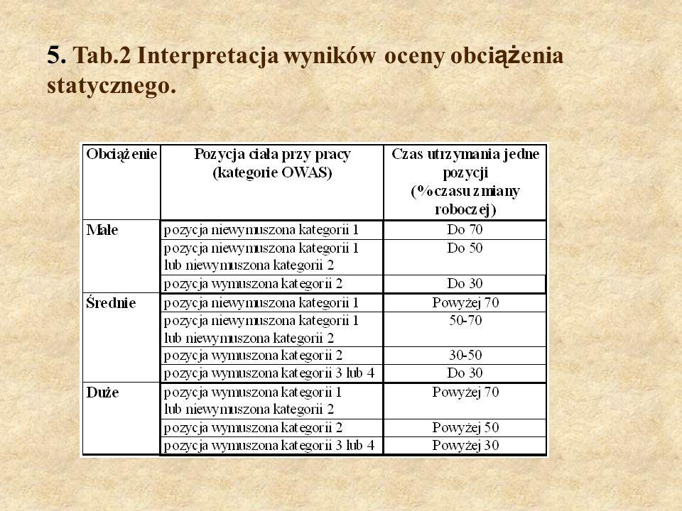 5. Tab.2 Interpretacja wyników oceny obciążenia statycznego.
