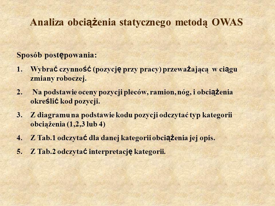 Analiza obciążenia statycznego metodą OWAS
