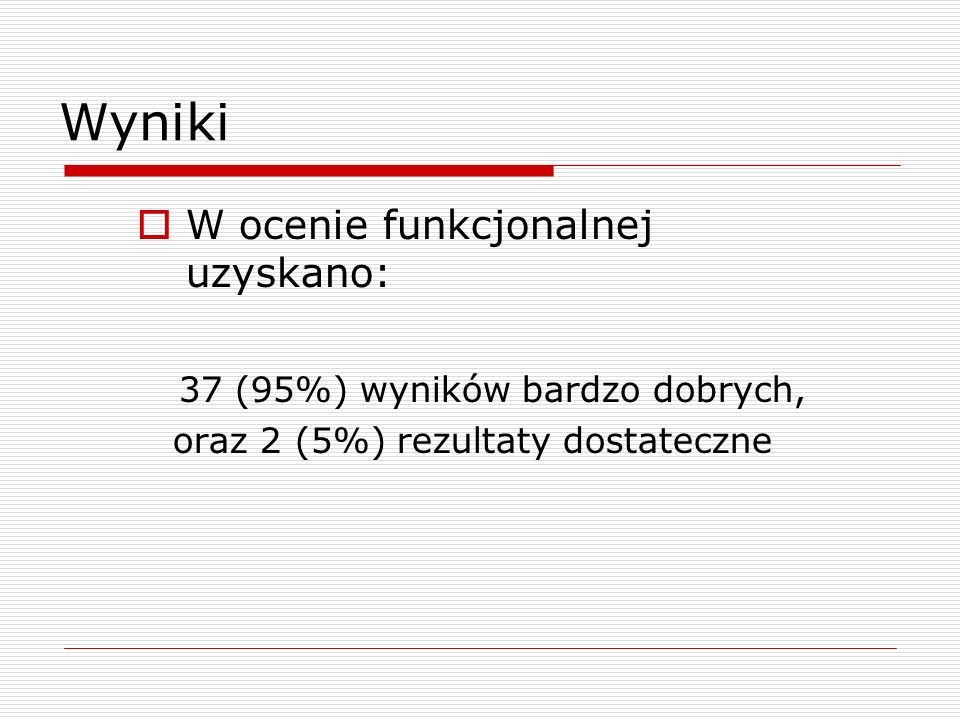 Wyniki W ocenie funkcjonalnej uzyskano: