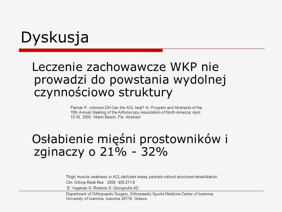 Dyskusja Leczenie zachowawcze WKP nie prowadzi do powstania wydolnej czynnościowo struktury. Osłabienie mięśni prostowników i zginaczy o 21% - 32%