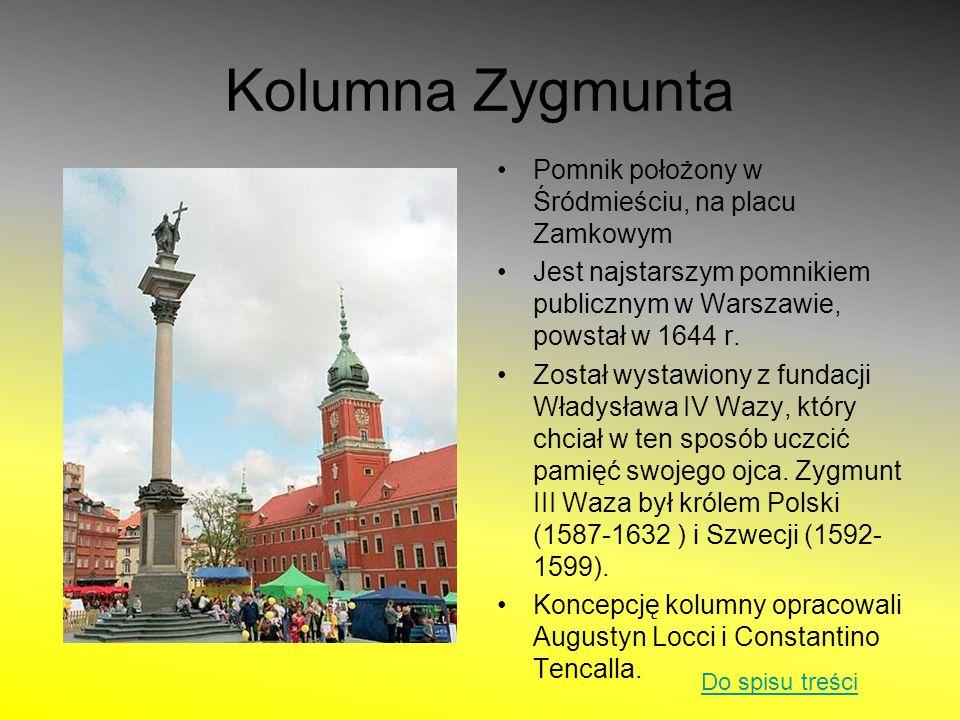 Kolumna Zygmunta Pomnik położony w Śródmieściu, na placu Zamkowym