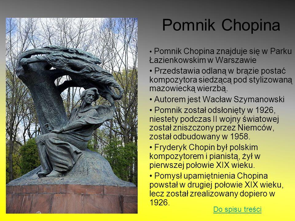Pomnik Chopina Pomnik Chopina znajduje się w Parku Łazienkowskim w Warszawie.