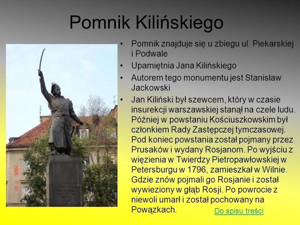 Pomnik Kilińskiego Pomnik znajduje się u zbiegu ul. Piekarskiej i Podwale. Upamiętnia Jana Kilińskiego.
