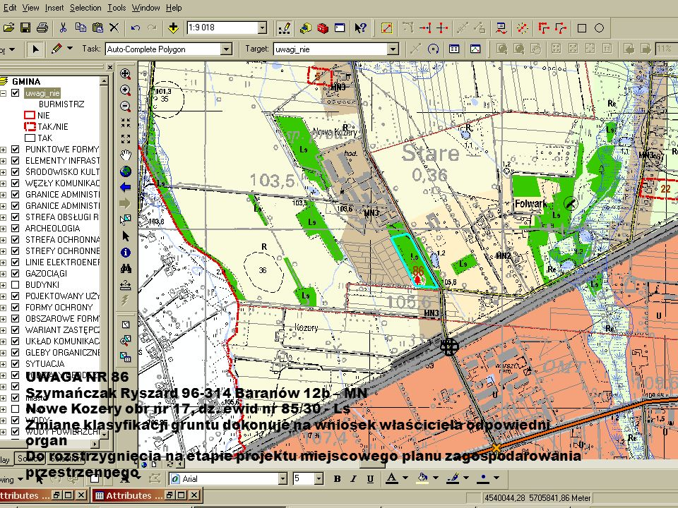 UWAGA NR 86 Szymańczak Ryszard 96-314 Baranów 12b – MN. Nowe Kozery obr nr 17, dz. ewid nr 85/30 - Ls.