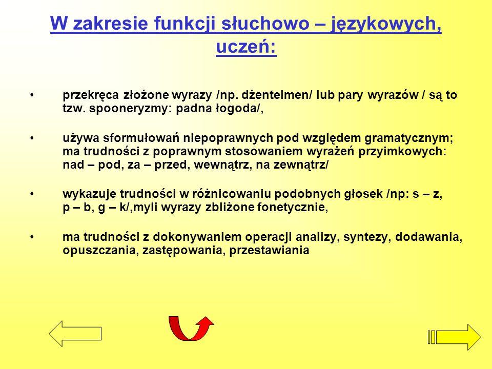 W zakresie funkcji słuchowo – językowych, uczeń: