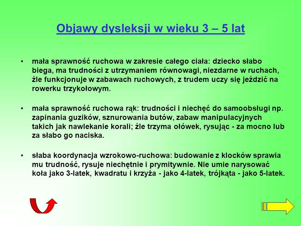 Objawy dysleksji w wieku 3 – 5 lat