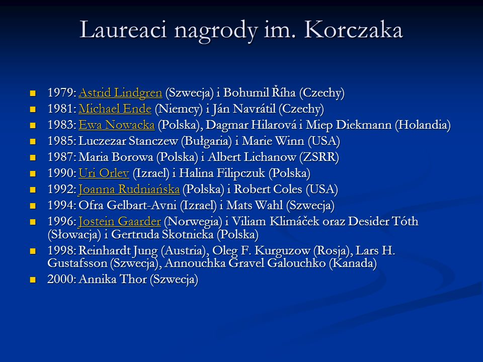 Laureaci nagrody im. Korczaka