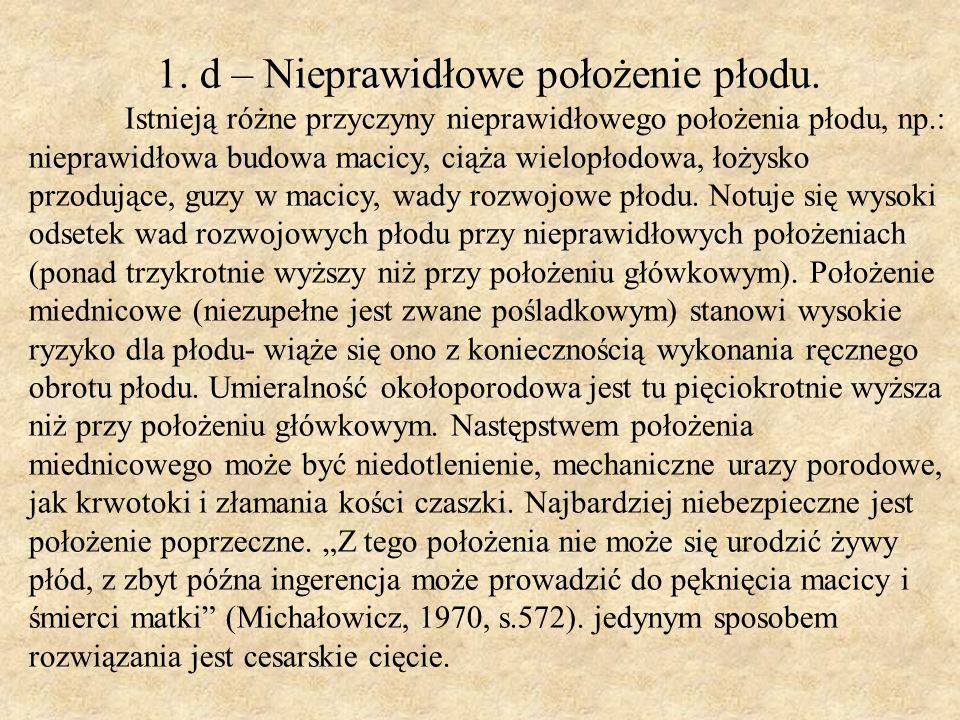 1. d – Nieprawidłowe położenie płodu.