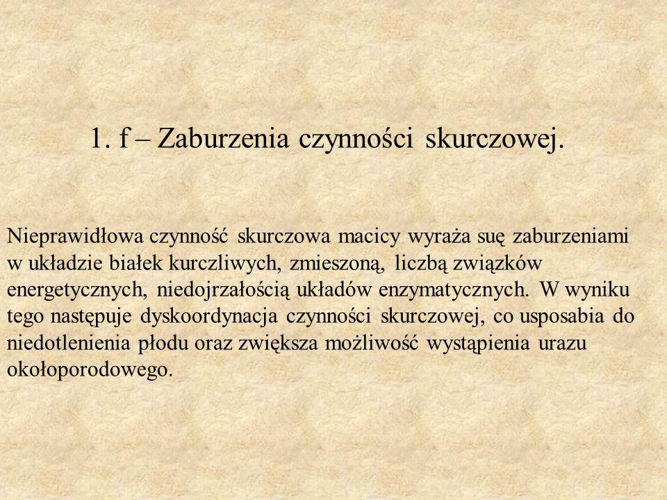 1. f – Zaburzenia czynności skurczowej.