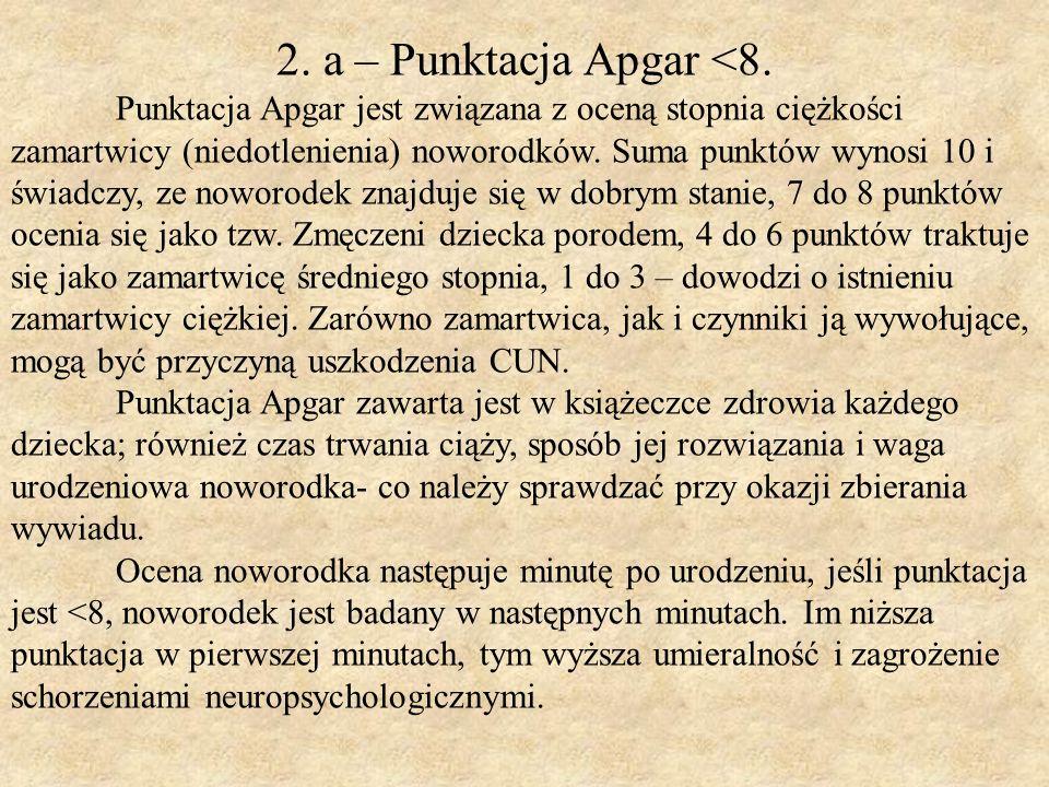 2. a – Punktacja Apgar <8.