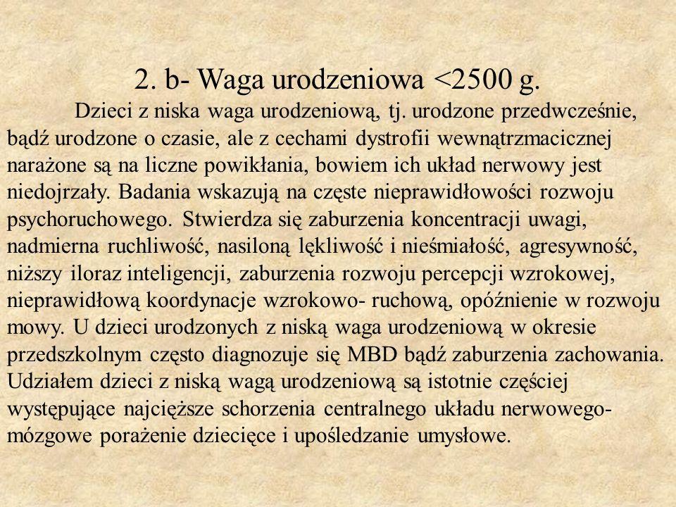 2. b- Waga urodzeniowa <2500 g.