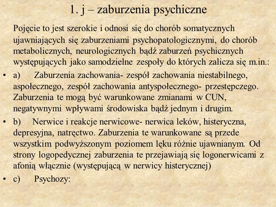 1. j – zaburzenia psychiczne
