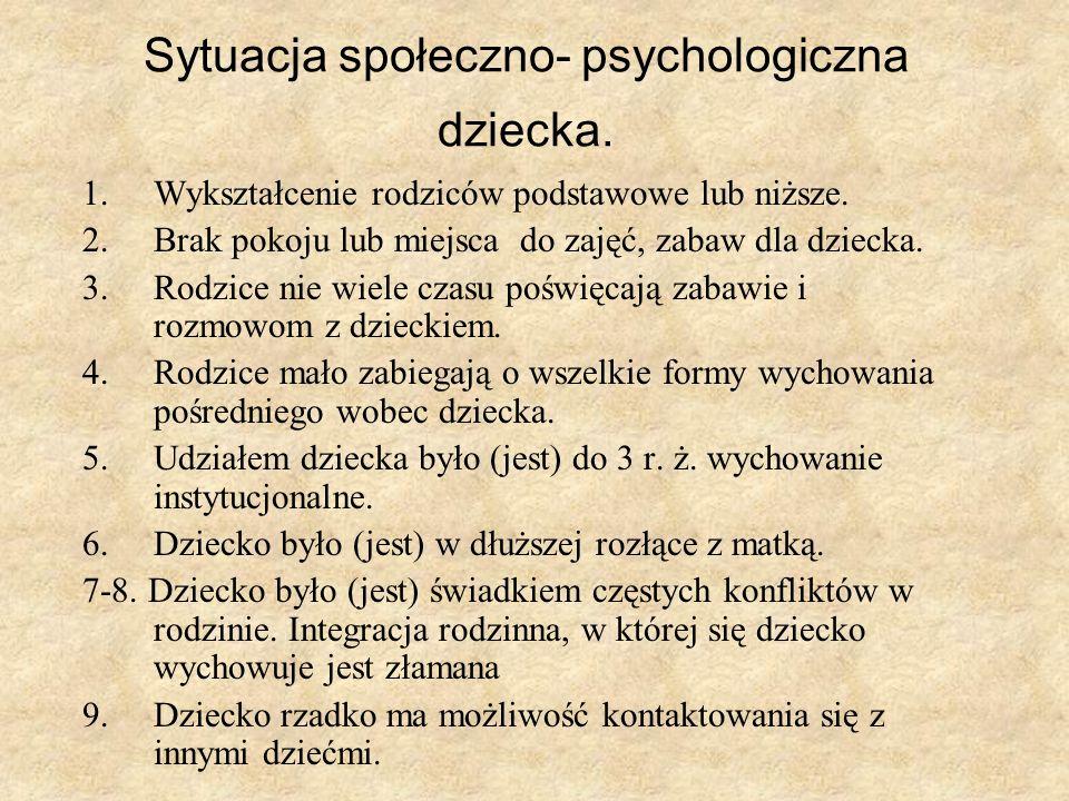 Sytuacja społeczno- psychologiczna dziecka.