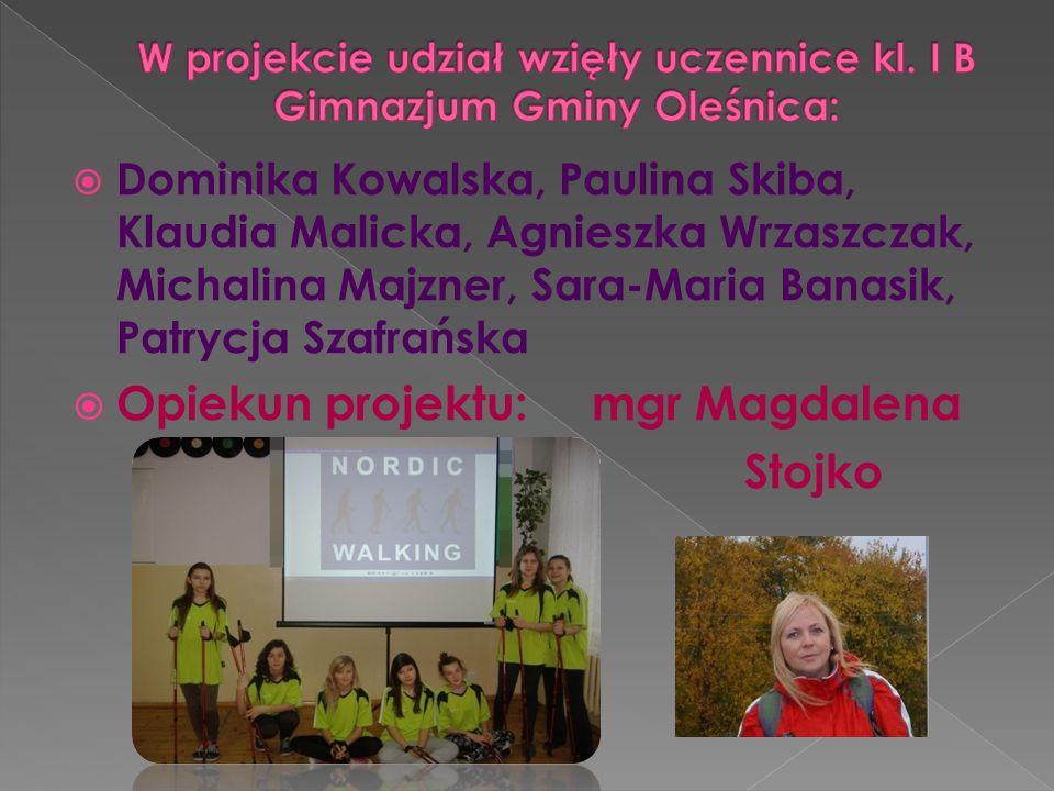 W projekcie udział wzięły uczennice kl. I B Gimnazjum Gminy Oleśnica: