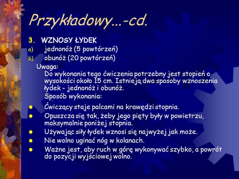 Przykładowy...-cd. 3. WZNOSY ŁYDEK jednonóż (5 powtórzeń)