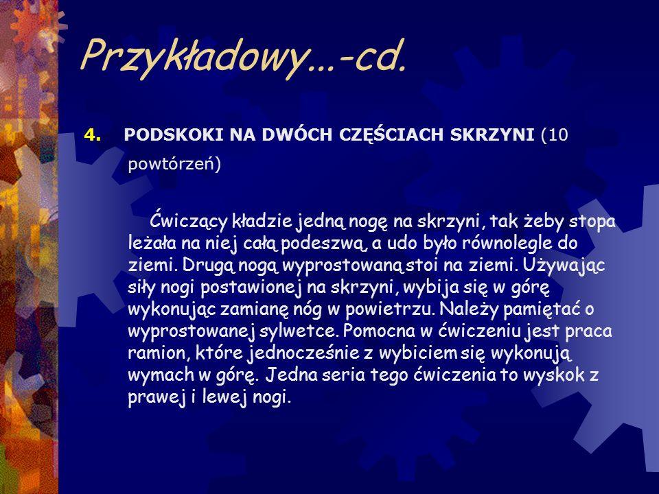 Przykładowy...-cd. 4. PODSKOKI NA DWÓCH CZĘŚCIACH SKRZYNI (10 powtórzeń)