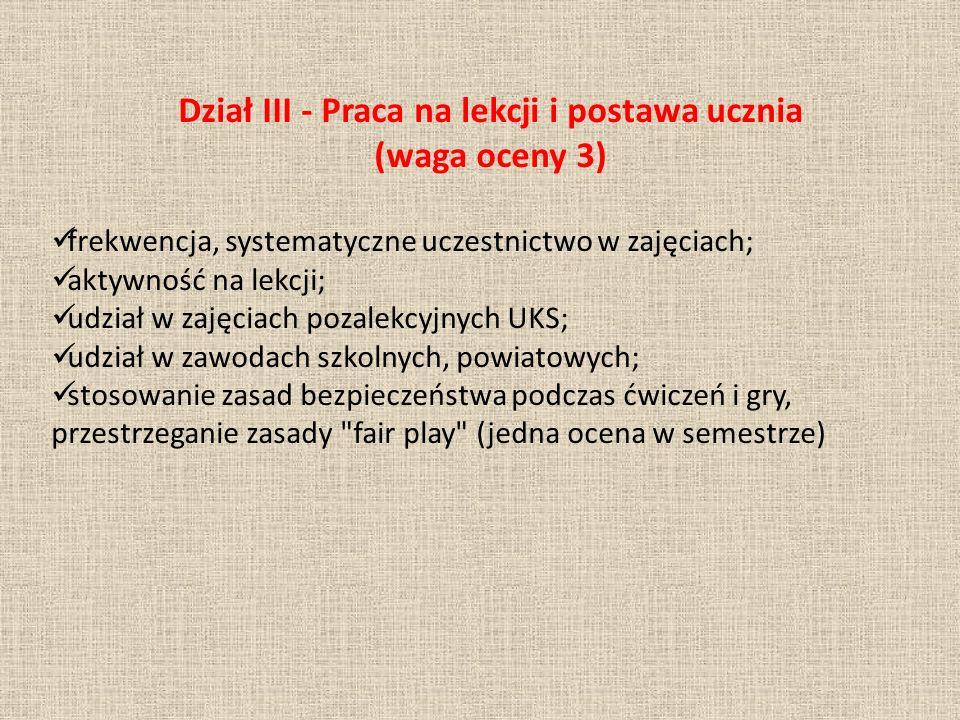 Dział III - Praca na lekcji i postawa ucznia (waga oceny 3)