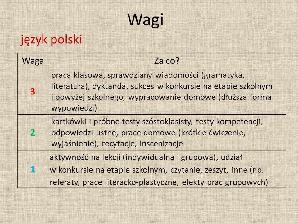 Wagi język polski Waga Za co 3 2 1