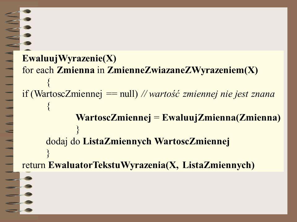 EwaluujWyrazenie(X) for each Zmienna in ZmienneZwiazaneZWyrazeniem(X) { if (WartoscZmiennej == null) // wartość zmiennej nie jest znana.
