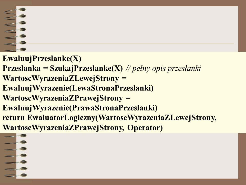 EwaluujPrzeslanke(X)