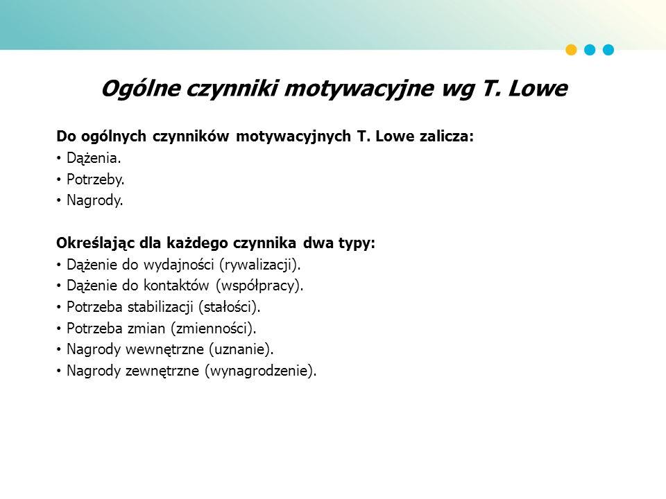 Ogólne czynniki motywacyjne wg T. Lowe