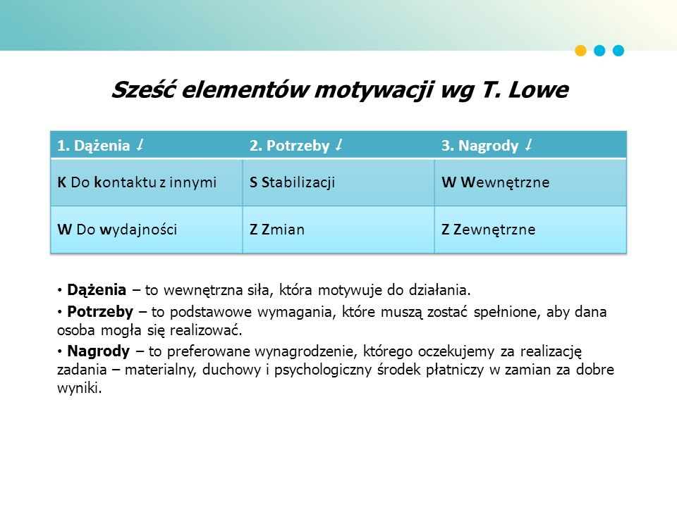 Sześć elementów motywacji wg T. Lowe