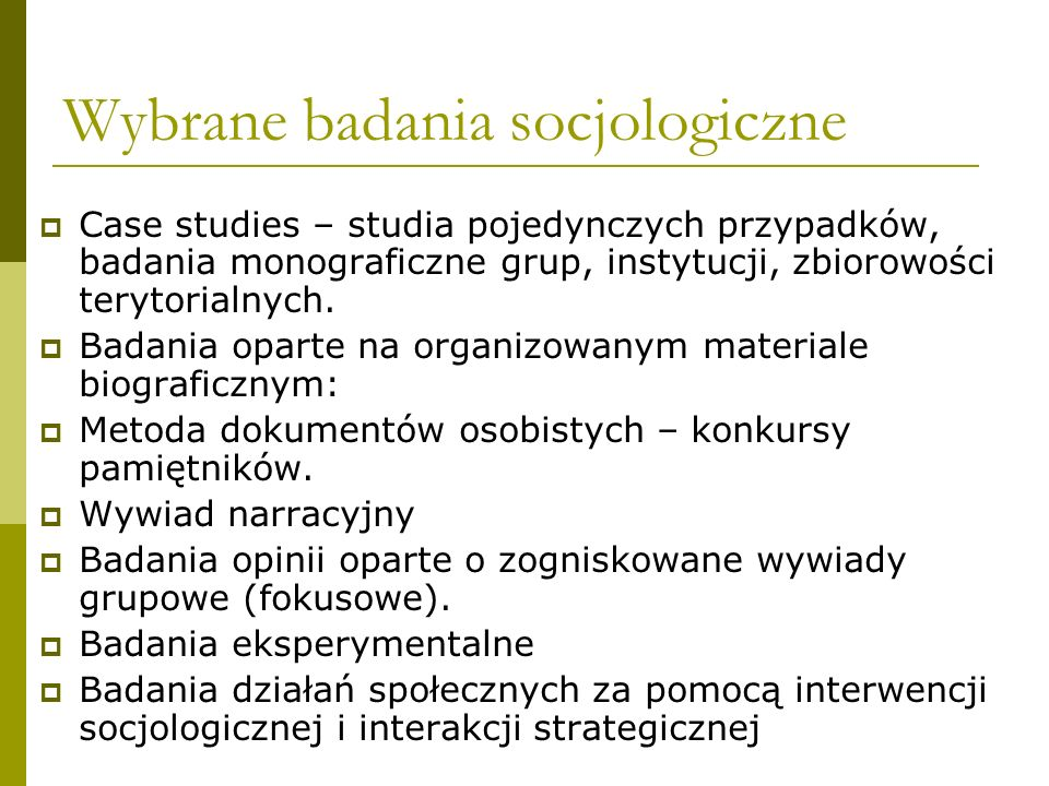 Wybrane badania socjologiczne