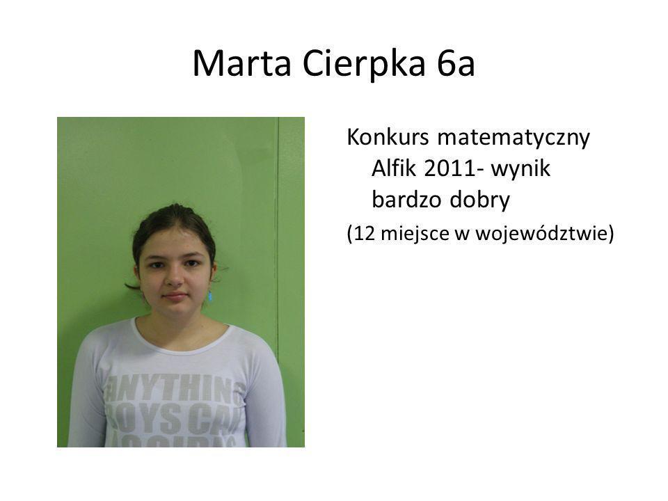 Marta Cierpka 6a Konkurs matematyczny Alfik 2011- wynik bardzo dobry