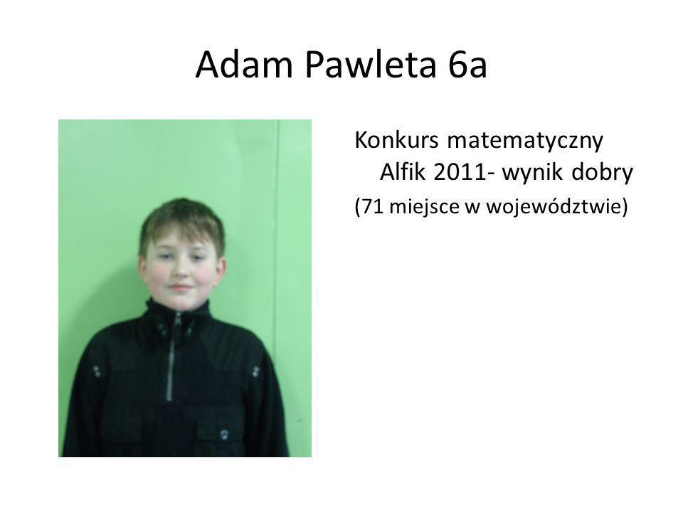 Adam Pawleta 6a Konkurs matematyczny Alfik 2011- wynik dobry
