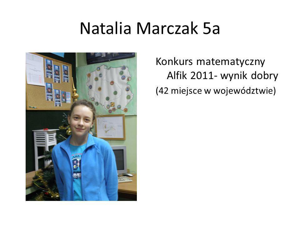 Natalia Marczak 5a Konkurs matematyczny Alfik 2011- wynik dobry