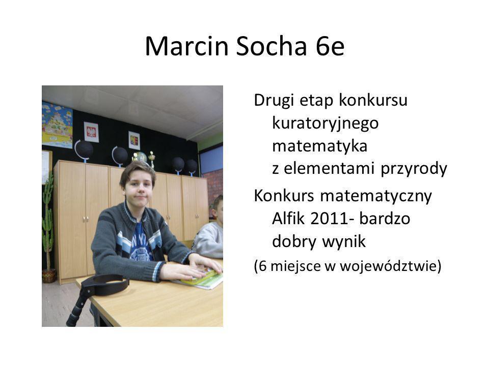 Marcin Socha 6e Drugi etap konkursu kuratoryjnego matematyka z elementami przyrody. Konkurs matematyczny Alfik 2011- bardzo dobry wynik.